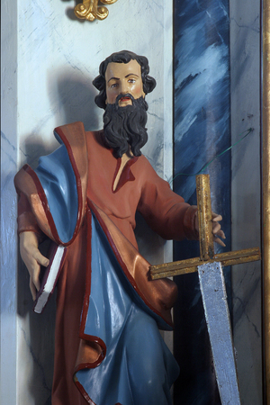 Saint Paul, statue on the main altar in Saints Cosmas and Damian church in Vrhovac, Croatia
