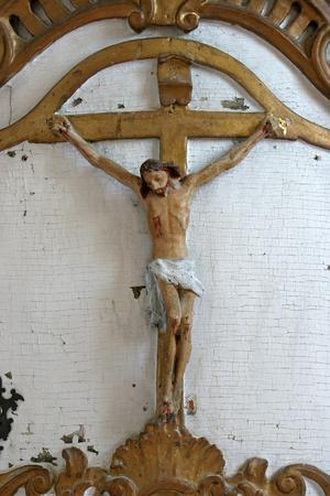 Crucifix in Church of Birth of Virgin Mary in Svetice, Croatia Editorial
