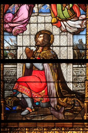 Saint Ladislaus, stained glass in Zagreb cathedral dedicated to the Assumption of Mary