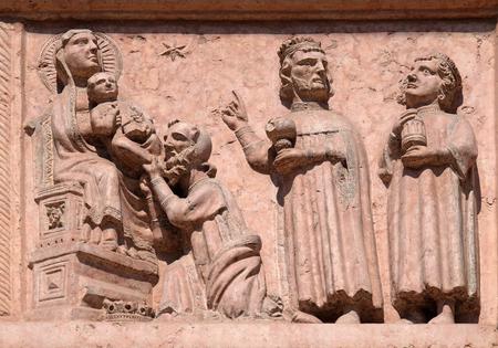 Nativity Scene, Adoration of the Magi, relief on Facade of Saint Anastasia Church in Verona, Italy Stock Photo