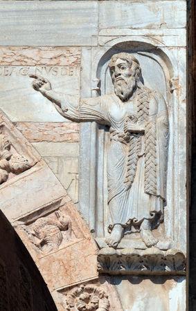 Saint Oliver, statue on the portal of the Cathedral dedicated to the Blessed Virgin Mary under the designation Santa Maria Matricolare in Verona, Italy