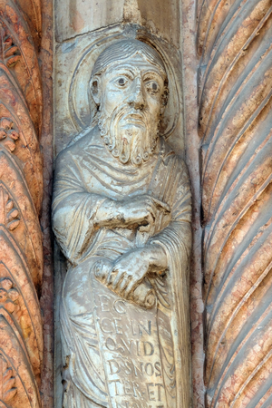 Prophet, statue on the portal of the Cathedral dedicated to the Blessed Virgin Mary under the designation Santa Maria Matricolare in Verona, Italy