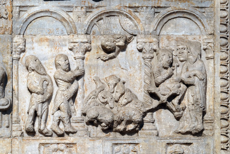 Bas-relief of Maestro Nicolo' (12th century), group to the right of the door of the Basilica of St Zeno