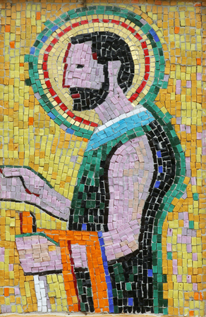Saint Joseph, mosaic in the Church of Saint Joseph in Sisak, Croatia Archivio Fotografico