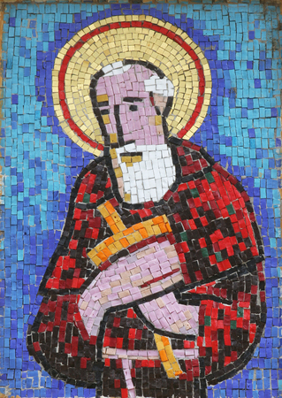 Saint Nicholas Tavelic, mosaic in the Church of Saint Joseph in Sisak, Croatia Archivio Fotografico