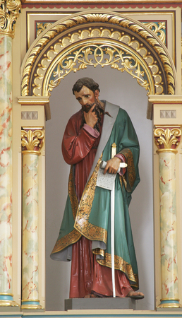 Statue of Saint Paul on the main altar in the Church of Holy Cross in Sisak, Croatia