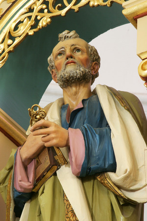 Statue of Saint Peter on the main altar in the Church of Holy Cross in Sisak, Croatia