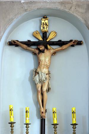 Crucifix, altar of the Holy Cross in the Saint Joseph church in Vela Luka, Korcula island, Croatia