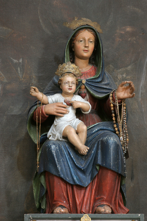 Our Lady of Mount Carmel, statue on the altar in the Saint Martin Church in Zrnovo, Korcula island, Croatia