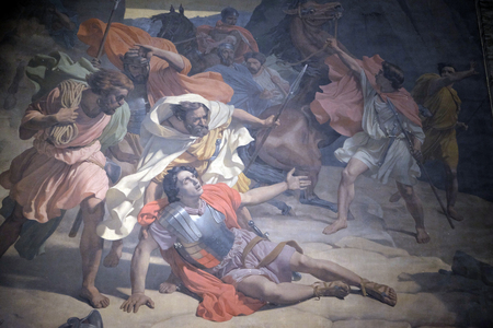 The Conversion of St. Paul, Mural Painting by Michel-Martin Drolling in the Saint Sulpice Church, Paris, France 新聞圖片
