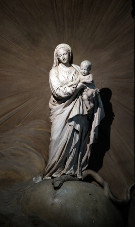 The Virgin and Child by Jean-Baptiste Pigalle, statue in the portal of the Saint Sulpice Church, Paris, France