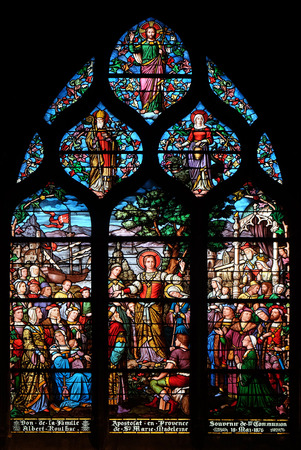 Apostolate of St. Mary Magdalene, stained glass window in Saint Severin church in Paris, France Editorial