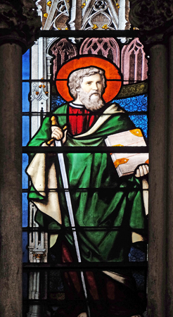 Saint Paul, stained glass window in Saint Severin church in Paris, France
