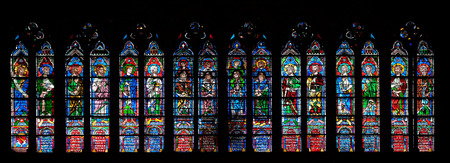 Prophets, stained glass window in the Notre Dame Cathedral, UNESCO World Heritage Site in Paris, France Editorial