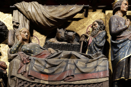 Intricately carved and painted frieze inside Notre Dame Cathedral depicting Nativity, UNESCO World Heritage Site in Paris, France 報道画像