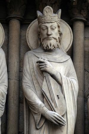 King David, Portal of St. Anne, Notre Dame Cathedral, Paris, UNESCO World Heritage Site in Paris, France