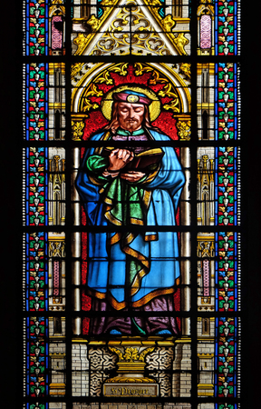 Saint Prosper, stained glass window in the Basilica of Saint Clotilde in Paris, France