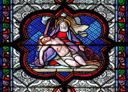 Descent from the Cross, stained glass window in the Basilica of Saint Clotilde in Paris, France