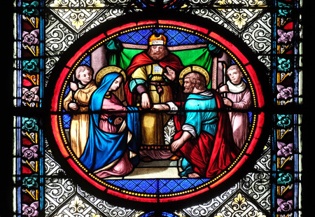 Marriage of St Joseph and Virgin Mary, stained glass window in the Basilica of Saint Clotilde in Paris, France Redactioneel