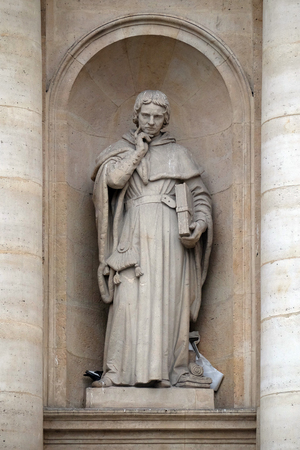 Jean Gerson statue on the facade of the Saint Ursule chapel of the Sorbonne in Paris, France Éditoriale