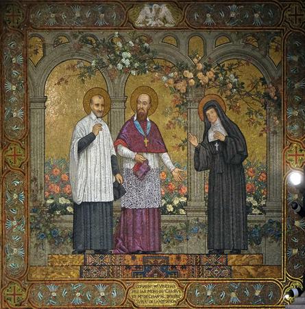 Saints Vincent de Paul with Francis de Sales and Jeanne de Chantal, mosaic in the Basilica of the Sacred Heart of Jesus in Paris, France