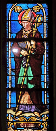 Saint Germanus of Auxerre, stained glass window from Saint Germain-lAuxerrois church in Paris, France