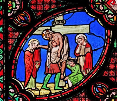 Deposition from the Cross, stained glass window from Saint Germain-l'Auxerrois church in Paris, France