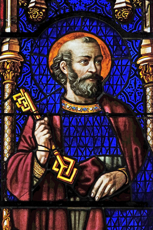 Saint Peter, stained glass window from Saint Germain-l'Auxerrois church in Paris, France