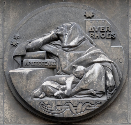 Averroes, was a medieval Andalusian polymath. He wrote on logic, philosophy, medieval sciences of medicine, astronomy, physics. Stone relief at the building of the Faculte de Medicine Paris