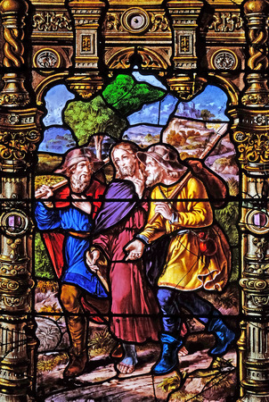 Appearance to the two disciples on their way to Emmaus , stained glass windows in the Saint Gervais and Saint Protais Church, Paris, France Editorial