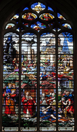 Healing the paralytic, stained glass windows in the Saint Gervais and Saint Protais Church, Paris, France