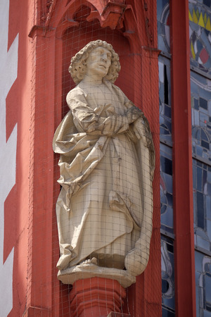 Saint Jude the Apostle statue on the portal of the Marienkapelle in Wurzburg, Bavaria, Germany