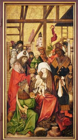 Nativity Scene, Adoration of the Magi, main altar in Marienkapelle in Wurzburg, Bavaria, Germany 報道画像