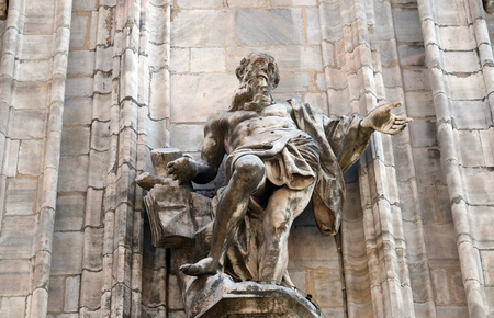 Statue of Saint on the facade of the Milan Cathedral, Duomo di Santa Maria Nascente, Milan, Lombardy, Italy Editorial