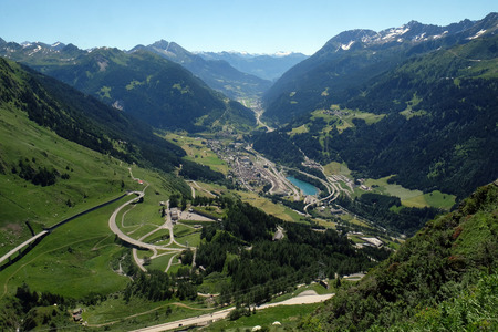 The St. Gotthard Pass, which has been built starting 1827, connects the two Swiss cantons Uri and Ticino, Switzerland