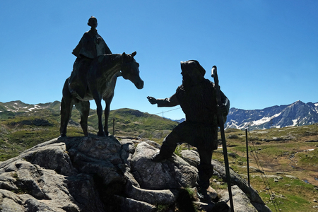 The equestrian statue of General Suvorov on Gotthard pass, Switzerland Editorial