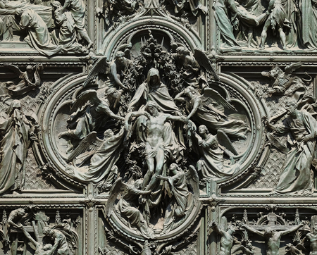 Lamentation of Christ, detail of the main bronze door of the Milan Cathedral, Duomo di Santa Maria Nascente, Milan, Lombardy, Italy