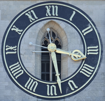Clock tower of the St. Peter evangelical church in Zurich, Switzerland 写真素材