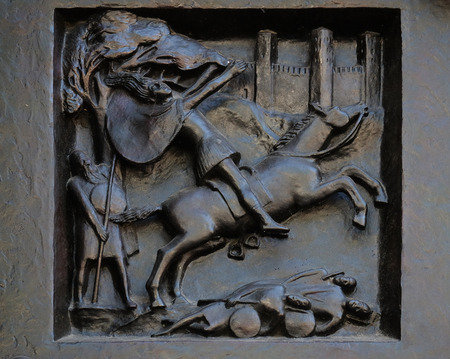 Honor Father and Mother - The Revolution of Absalom, relief on the door of the Grossmunster church in Zurich, Switzerland Editorial