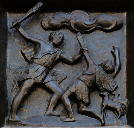 Thou shalt not kill - Cain and Abel, relief on the door of the Grossmunster church in Zurich, Switzerland