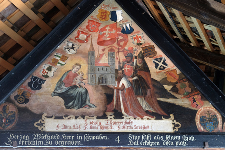 Historical paintings underneath the roof of the Chapel Bridge by Hans Heinrich Wgmann in Lucerne, Switzerland