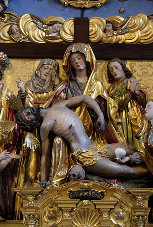 Mary with the body of Christ on her knees statue on the Soul Altar altar in the church of St. Leodegar in Lucerne, Switzerland Editoriali