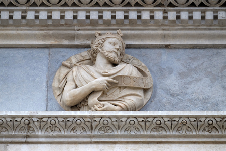 Prophet Josephus, relief on the portal of the Cathedral of Saint Lawrence in Lugano, Switzerland