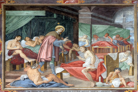 Scene of Saint Rochs life, by Marco Antonio Pozzi, fresco in the Saint Roch church in Lugano, Switzerland Editorial