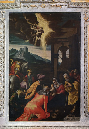 Adoration of the Magi, painting in the church of St. Victor on the Fishermen Island, one of the famous Borromeo Islands of Lake Maggiore, Italy