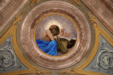 Saint Luke the Evangelist, ceiling fresco in the church of St. Victor on the Fishermen Island, one of the famous Borromeo Islands of Lake Maggiore, Italy