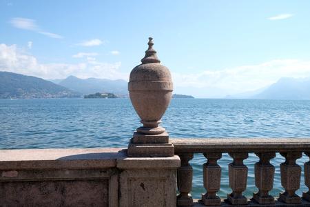 Ornamental balustrade on Isola Bella, Borromeo Islands, Lago Maggiore, Piedmont, Italy