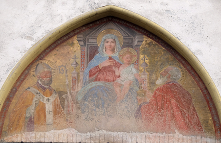 Madonna with Child on the throne with Saints, Sant Ambrogio Church in Florence, Italy Editorial