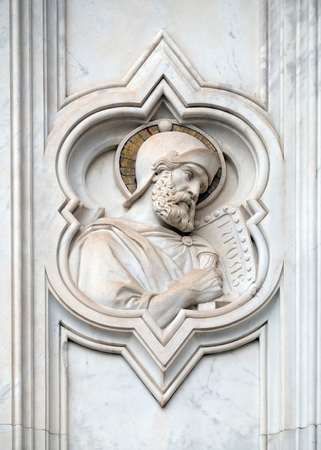 Saint Judas, relief on the facade of Basilica of Santa Croce (Basilica of the Holy Cross) - famous Franciscan church in Florence, Italy Editorial