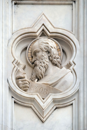 Jacob, relief on the facade of Basilica of Santa Croce (Basilica of the Holy Cross) - famous Franciscan church in Florence, Italy